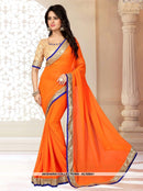 AC55941 - Orange Color Georgette Saree