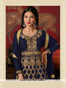 AC56209A - Navy Blue Color Mulbery Silk Anarkali Suit