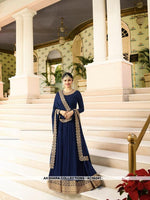 AC56241 - Navy Blue Color Georgette Anarkali Suit