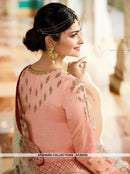 AC56242 - Peach Color Silk  Anarkali Suit