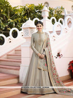 AC56244 - Light Grey Color Silk Anarkali Suit