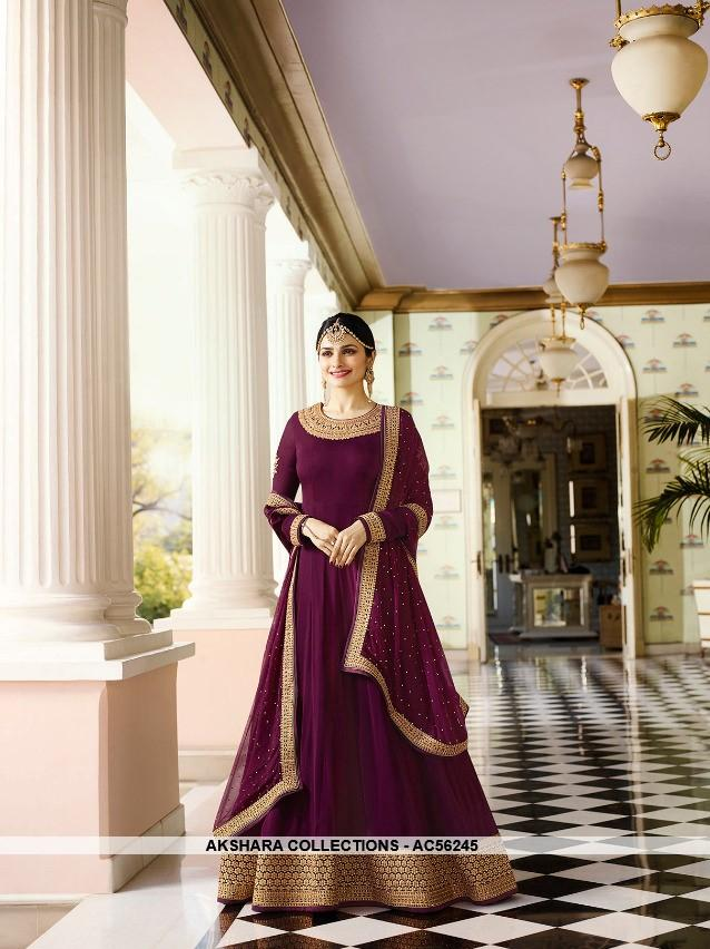 AC56245 - Dark Purple Color Georgette Anarkali Suit