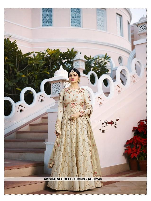 AC56246 - Cream Color Silk Anarkali Suit