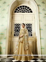 AC56248 - Beige Color Silk Anarkali Suit