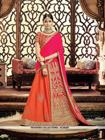 AC56297 - Orange and Hot Pink Color Tafeta Silk and Raw Silk Lehenga Choli