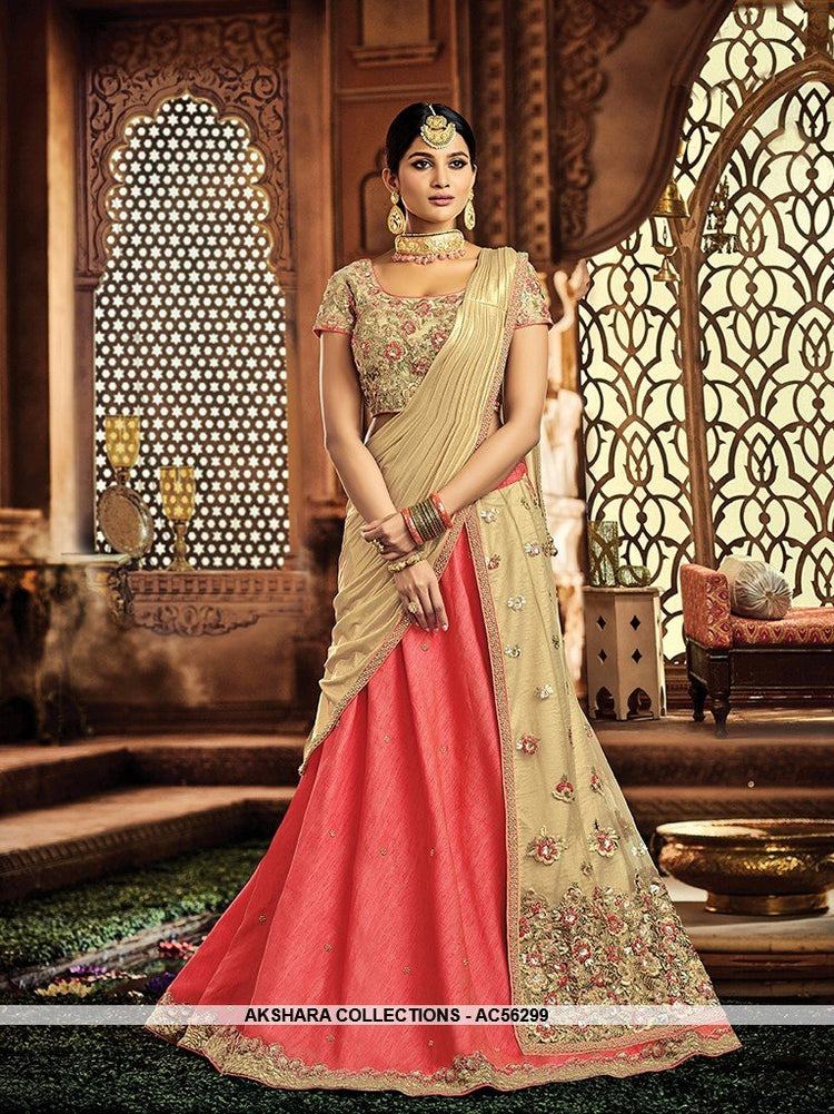 AC56299 - Pink and Beige Color Raw Silk and Net Lehenga Choli