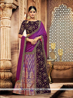 AC56301 - Purple and Violet Color Jacquard Silk and Velvet Lehenga Choli