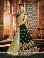 AC56305 - Beige and Dark Green Color Jacquard Silk and Velvet Lehenga Choli