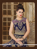 AC56416 - Navy Blue Color Velvet Anarkali Suit