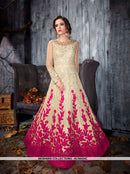 AC56434C - Cream and Hot Pink Color Net Anarkali Suit