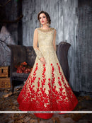 AC56434 - Cream and Red Color Net Anarkali Suit