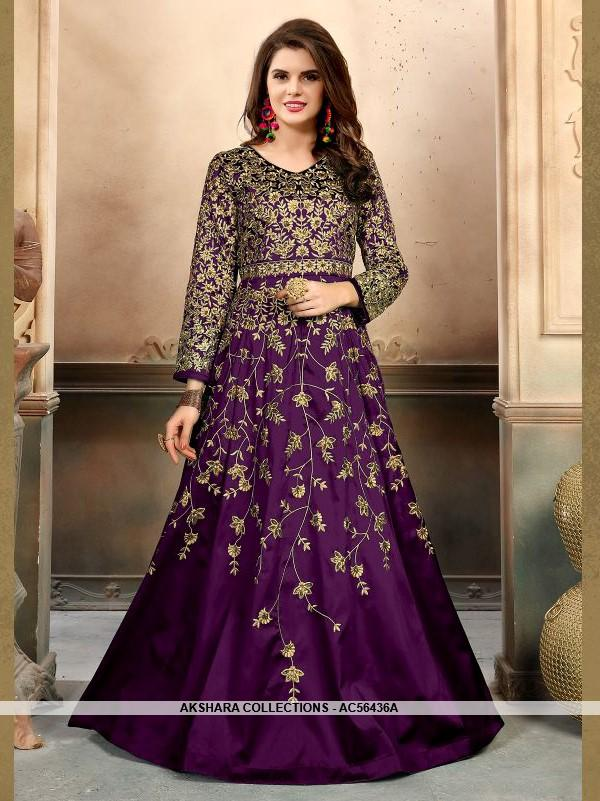 AC56436A - Violet Color Tafeta Silk Anarkali Suit