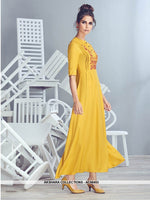 AC56453 - Yellow Color Crepe Georgette Kurti
