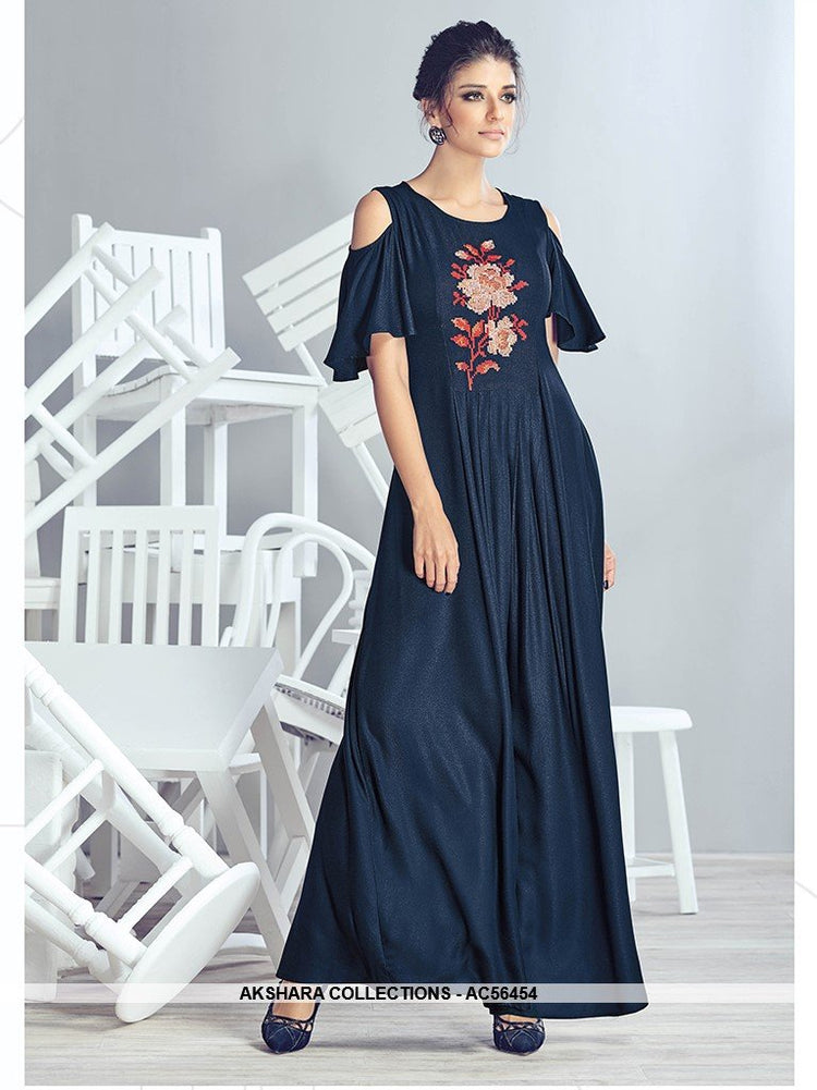 AC56454 - Navy Blue Color Crepe Georgette Kurti
