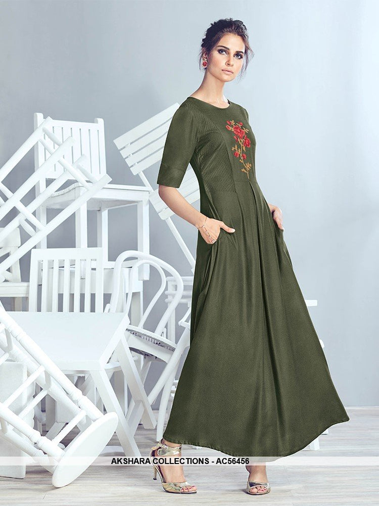 AC56456 - Olive Green Color Crepe Georgette Kurti