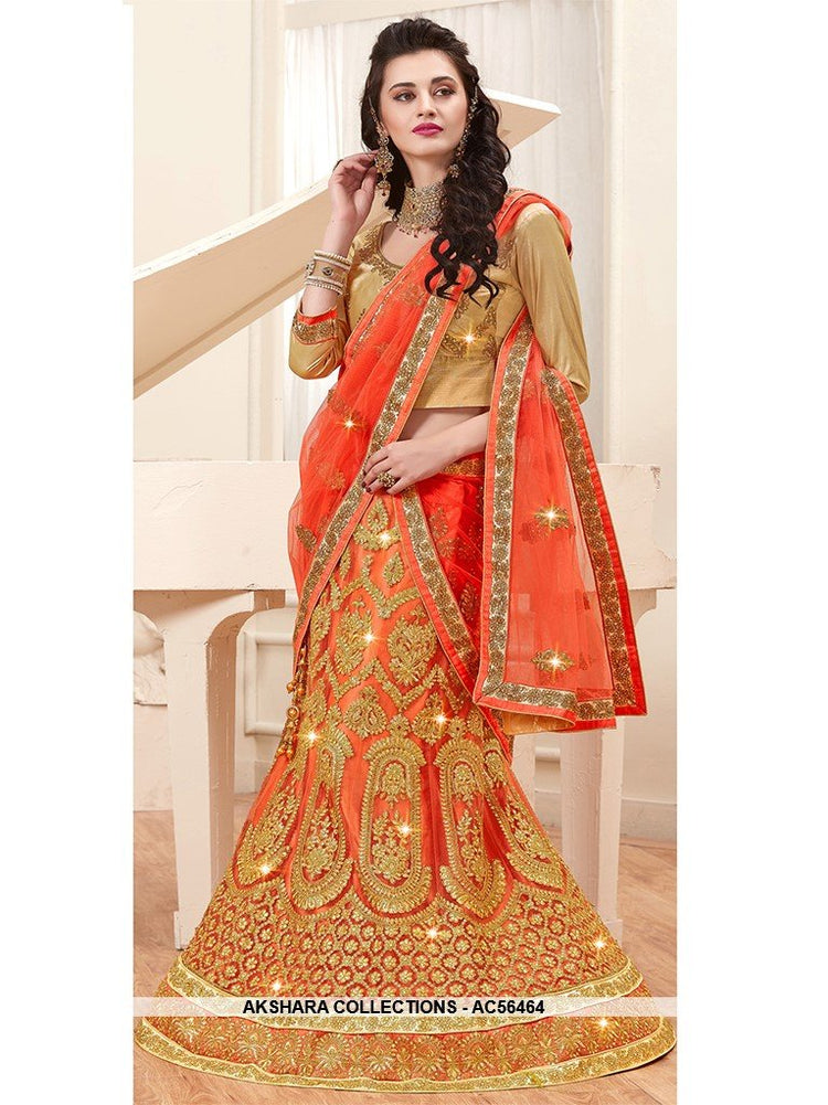 AC56464 - Orange Color Net Lehenga Choli