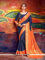 AC56486 - Navy Blue and Orange Color Nylon Art Silk Saree