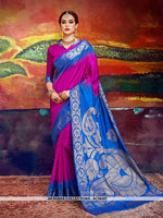 AC56487 - Magenta Pink and Royal Blue Color Nylon Art Silk Saree