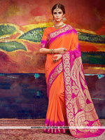 AC56488 - Orange and Rani Pink Color Nylon Art Silk Saree