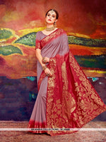 AC56489 - Mauve and Red Color Nylon Art Silk Saree