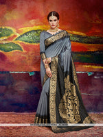 AC56490 - Grey and Black Color Nylon Art Silk Saree