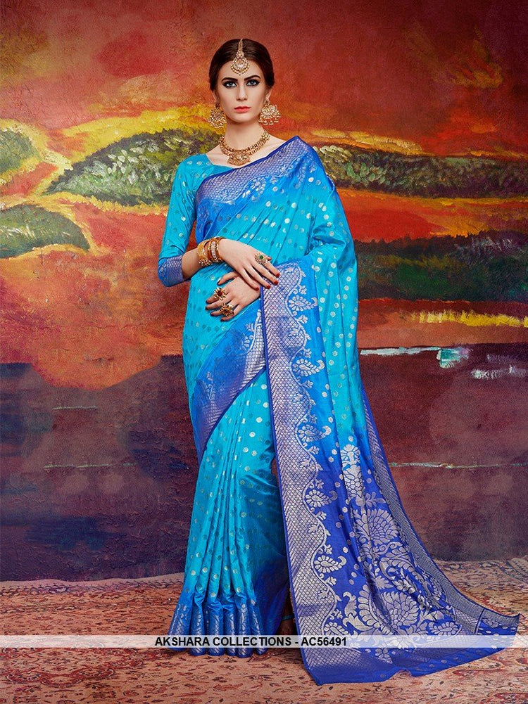 AC56491 - Blue Color Nylon Art Silk Saree