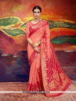 AC56492 - Peach and Red Color Nylon Art Silk Saree