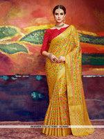 AC56493 - Yellow Color Nylon Art Silk Saree