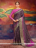 AC56495 - Black and Magenta Pink Color Nylon Art Silk Saree