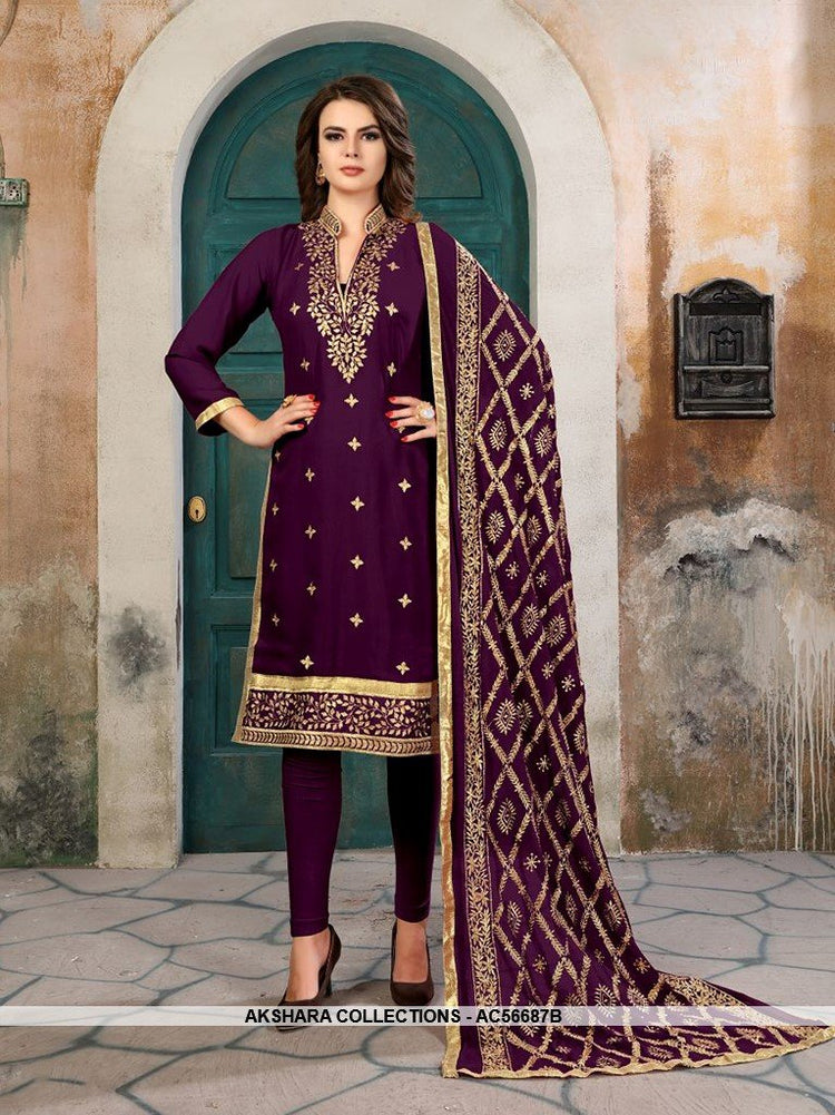 AC56687B - Dark Purple Color Georgette Churidar Suit
