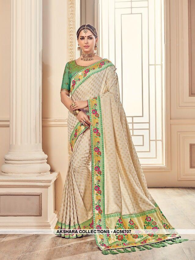AC56707 - Beige Color Banarasi Silk Saree