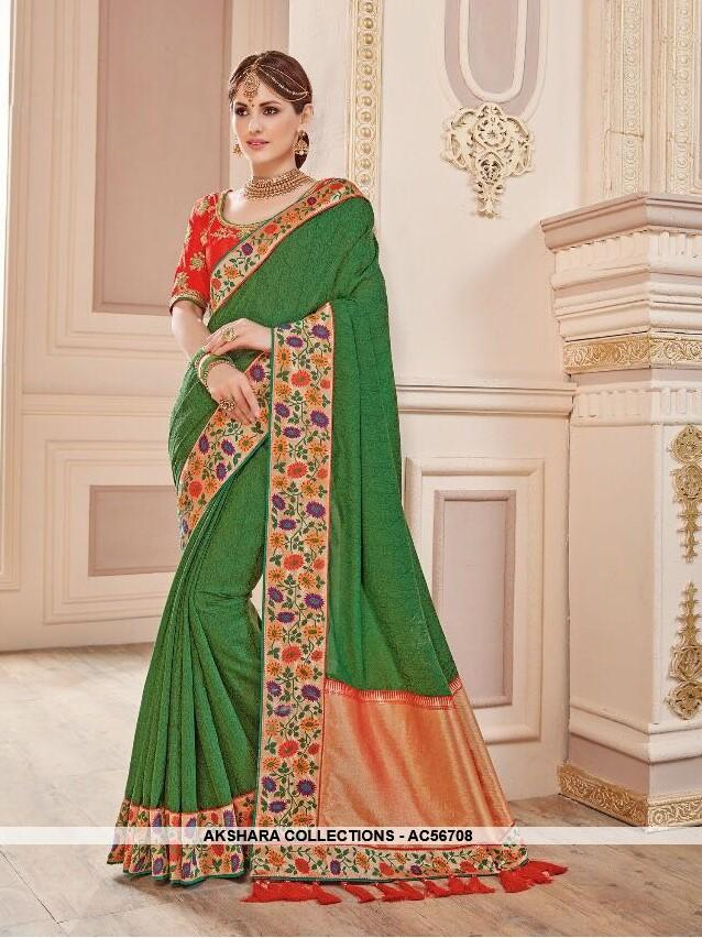 AC56708 - Bottle Green Color Banarasi Silk Saree