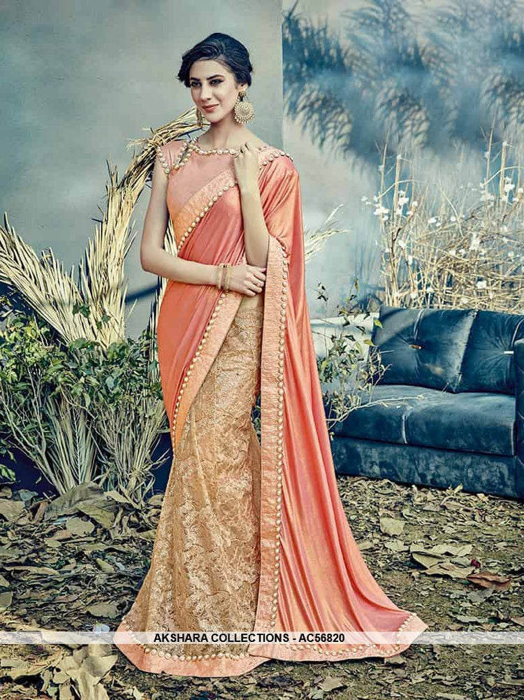 AC56820 - Peach Color Fancy Net and Lycra Lehenga Saree