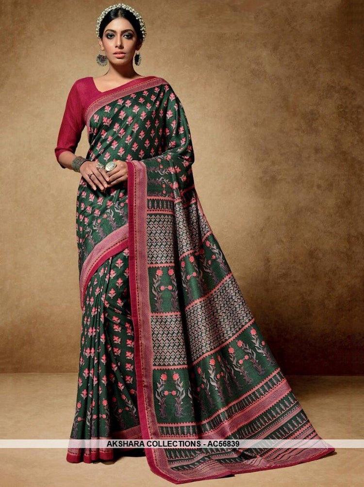 AC56839 - Pine Green Color Tussar Art Silk Saree
