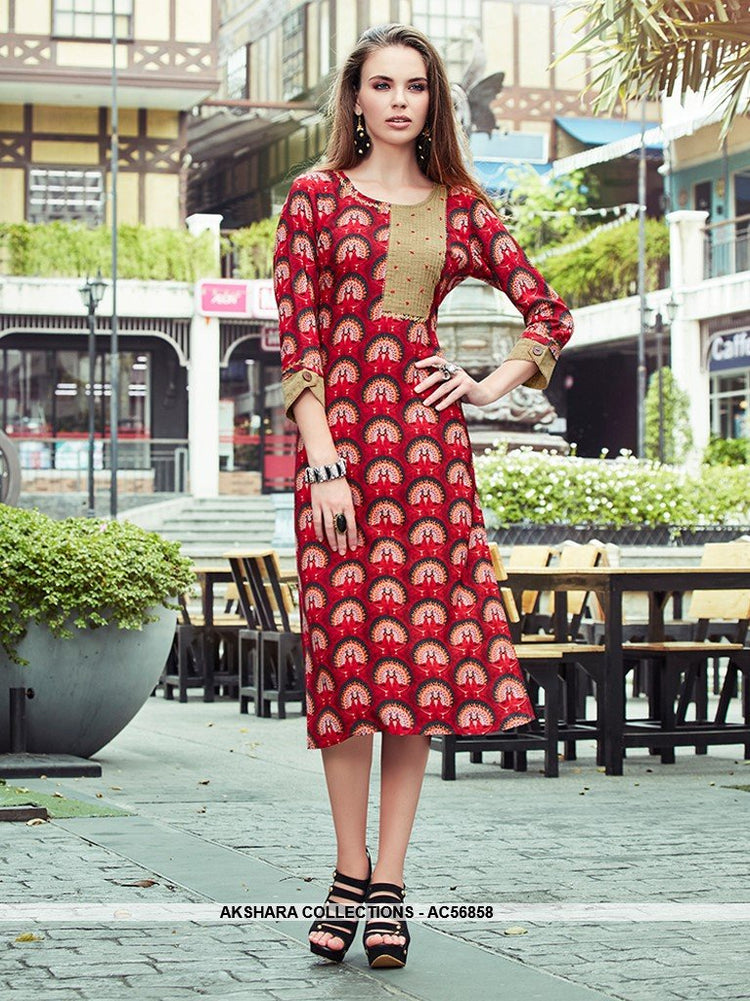AC56858 - Red Color Cotton Kurti