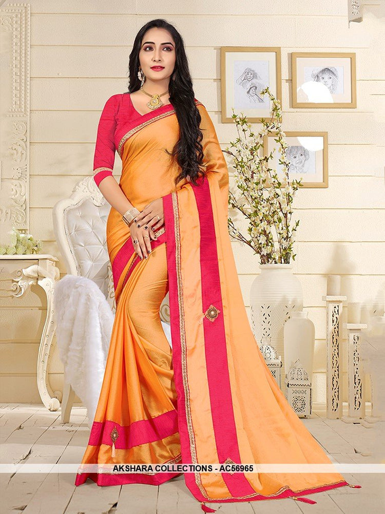 AC56965 - Orange Color Satin Silk Saree