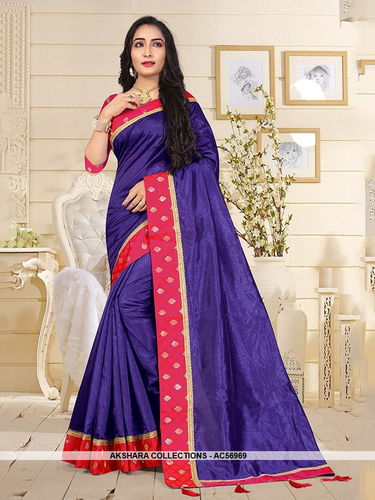 AC56969 - Violet Color Satin Silk Saree