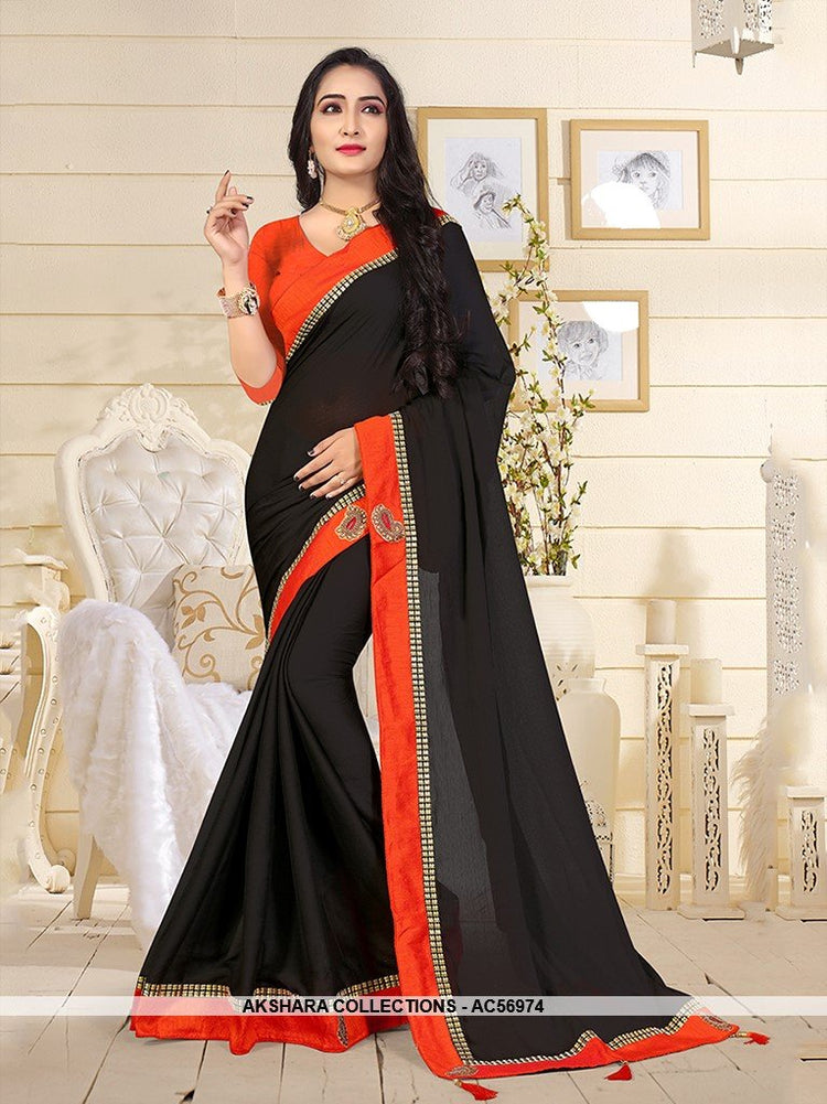 AC56974 - Black Color Satin Silk Saree