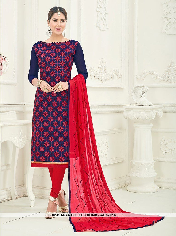 AC57016 - Blue and Red Color Chanderi Churidar Suit
