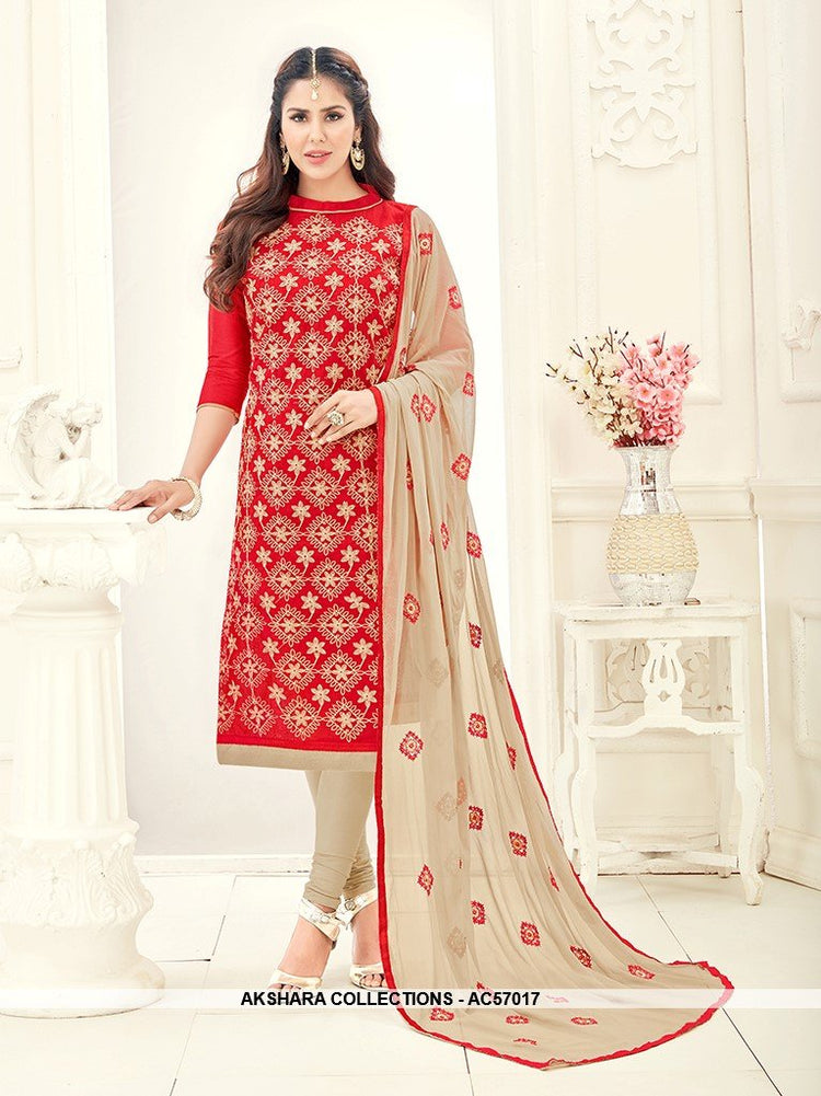 AC57017 - Red Color Chanderi Churidar Suit