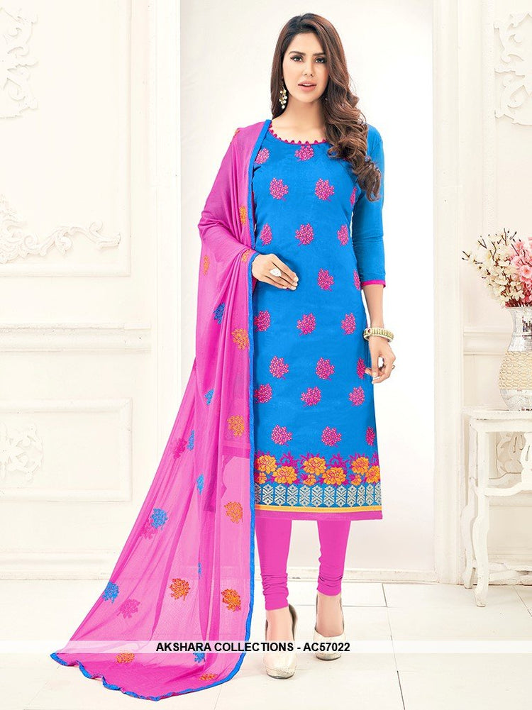 AC57022 - Sky Blue Color Chanderi Churidar Suit