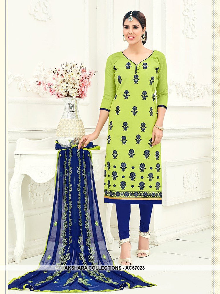 AC57023 - Light Green Color Chanderi Churidar Suit