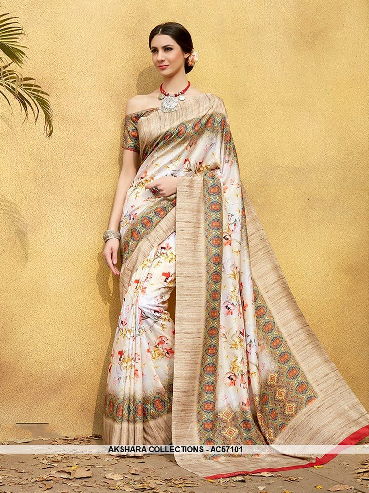 48264965eb AC57101 - Off White Color Pure Tussar Silk Saree – Akshara Collections