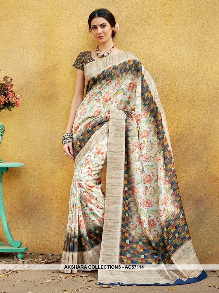 e00863045c AC57114 Beige Color Pure Tussar Silk Saree – Akshara Collections