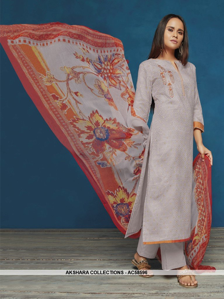 AC58596 - Grey Color Satin Jacquard Salwar Kameez