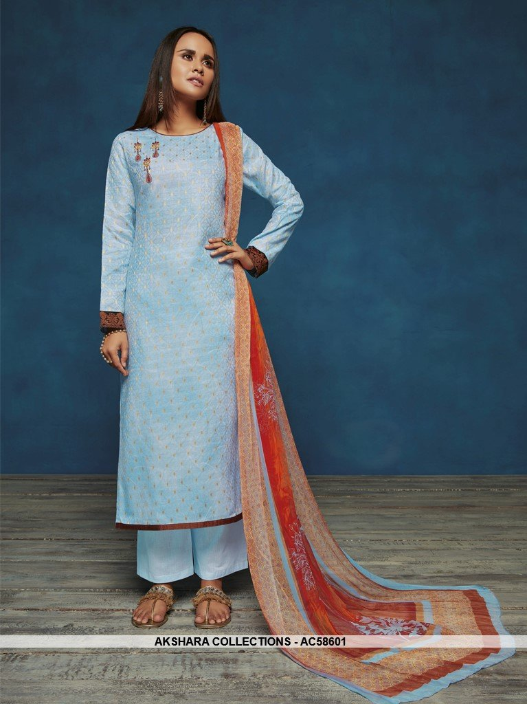 AC58601 - Light Blue Color Satin Jacquard Palazzo Suit