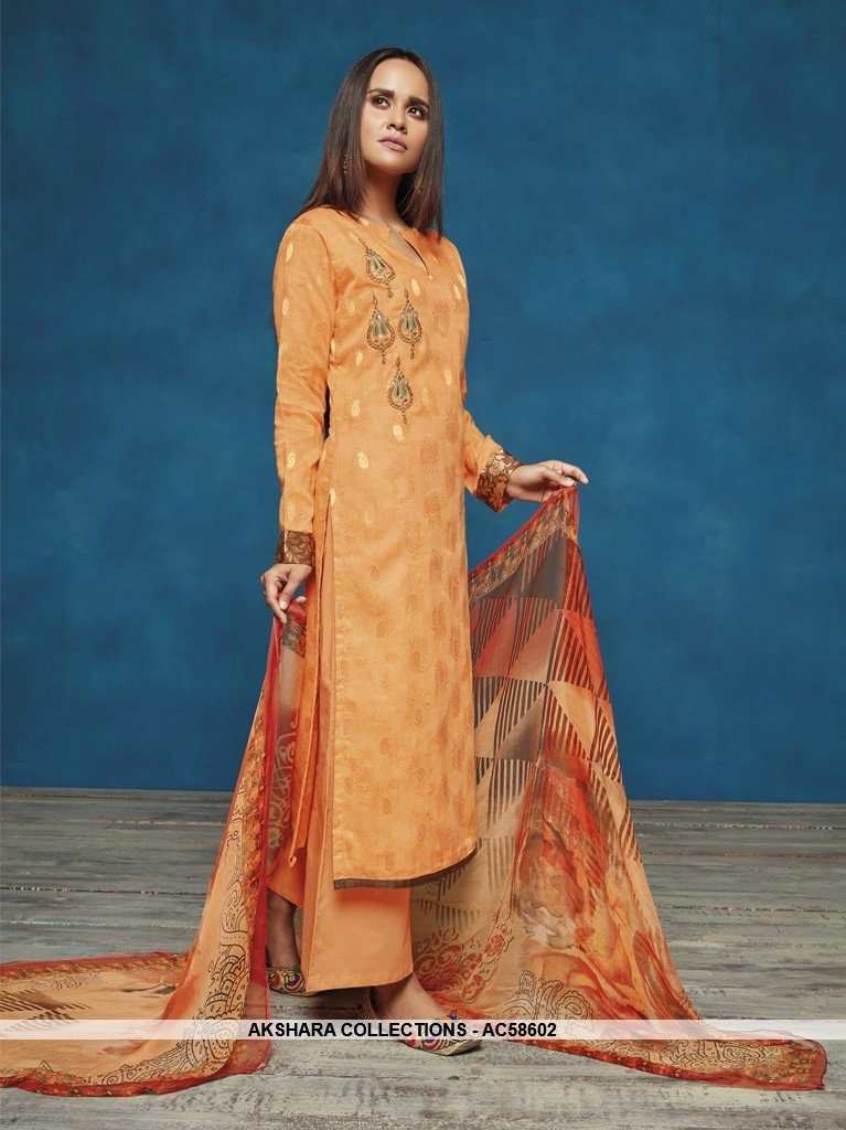 AC58602 - Light Orange Color Satin Jacquard Palazzo Suit