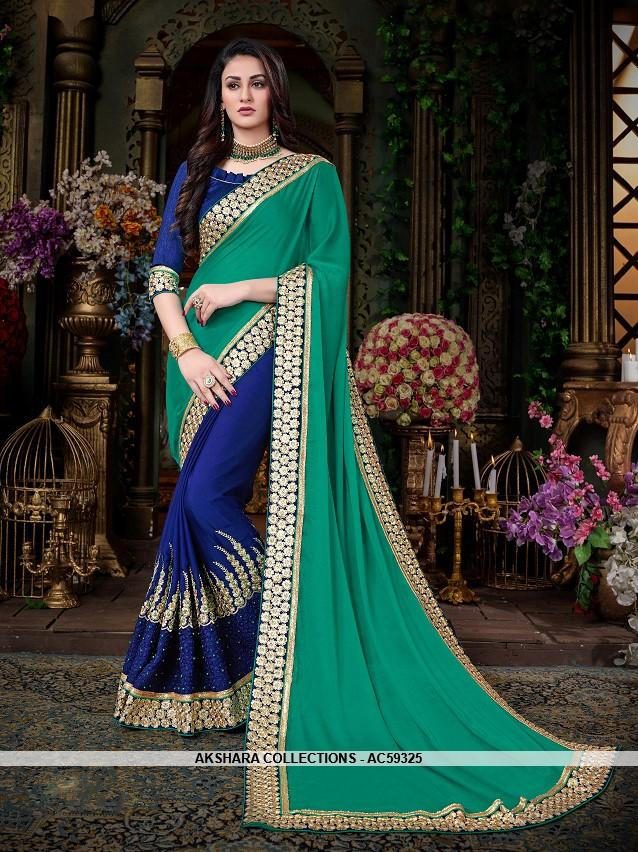 023197bfd2 AC59325 - Sea Green and Royal Blue Color Georgette Half N Half Saree –  Akshara Collections