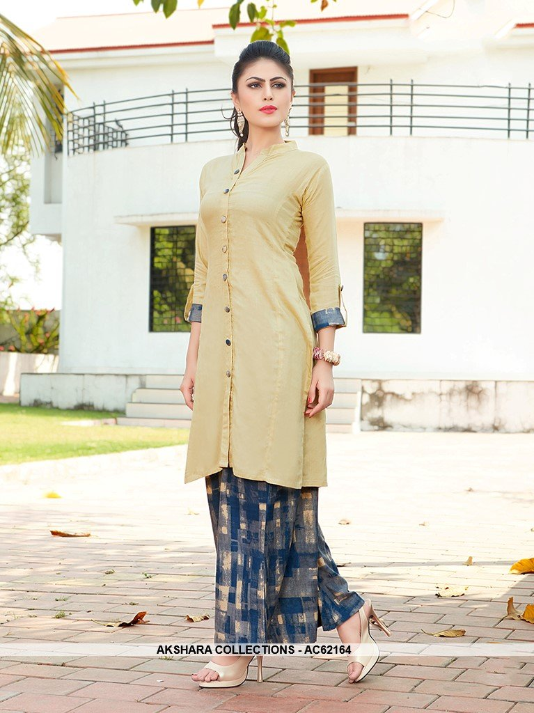 AC62164 - Cream Color Rayon Kurti