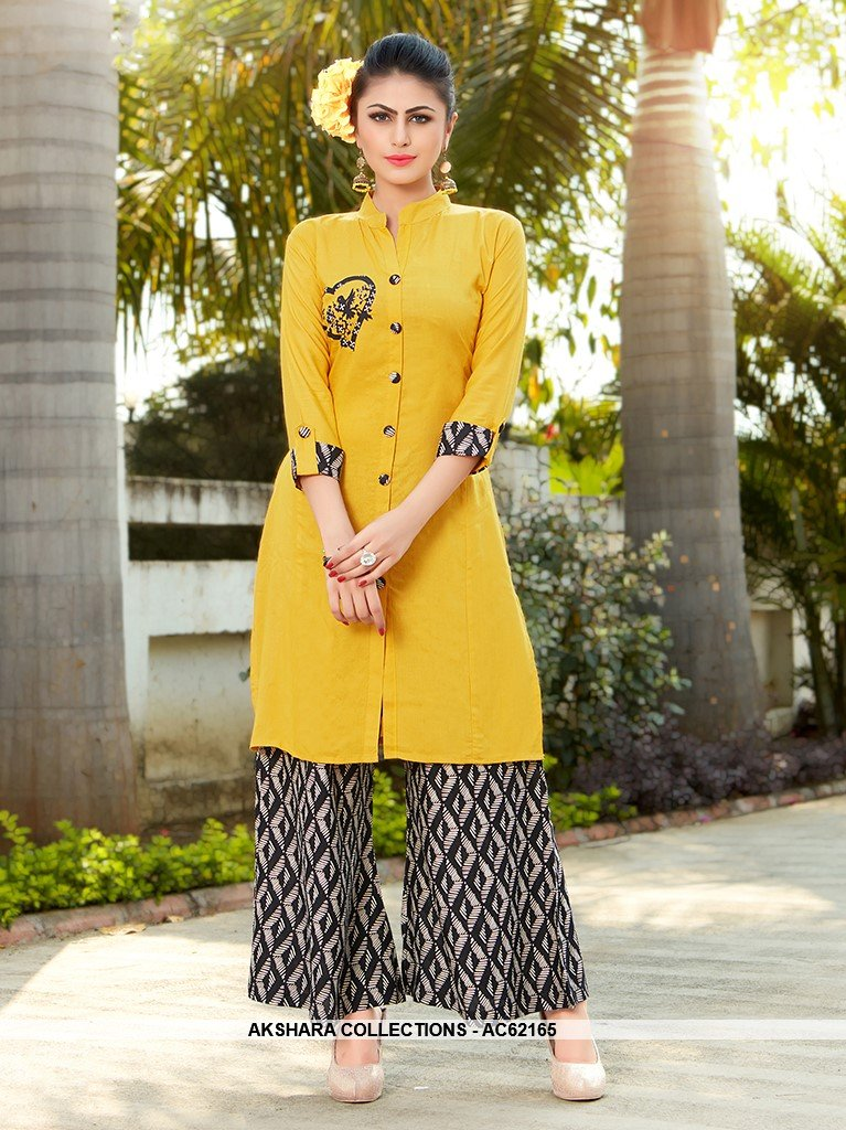 AC62165 - Yellow Color Rayon Kurti